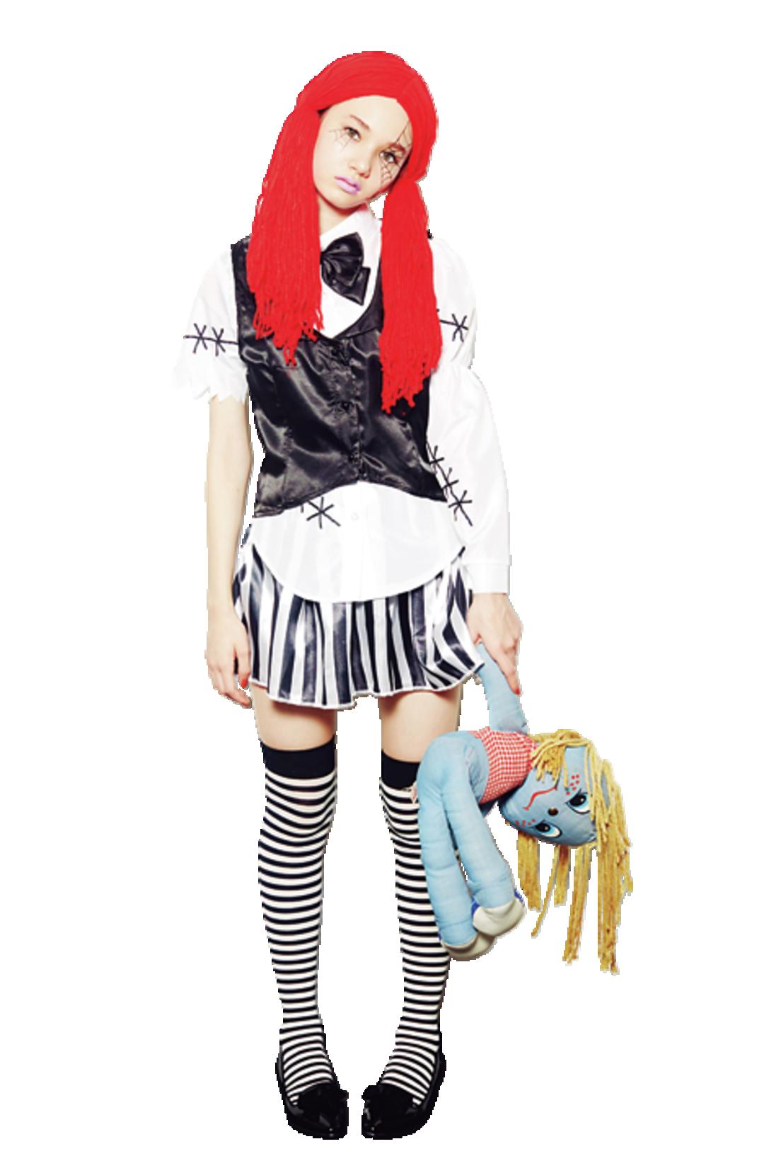 「呪いの人形に変身してみた!! ニーハイと毛糸のウィッグで、ドール感マシマシ☆」(マーシュ彩)