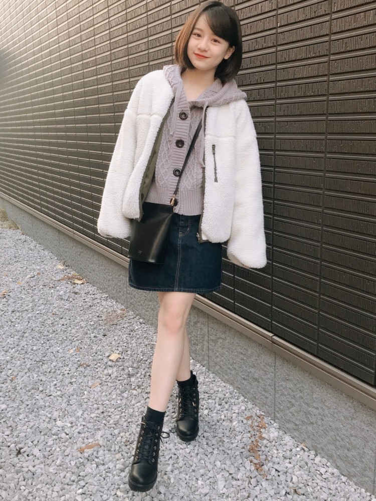 outer / GRLtops / Heatherskirt / GUshoes / Heather